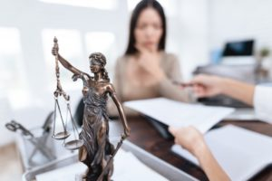 justice figurine at a law office