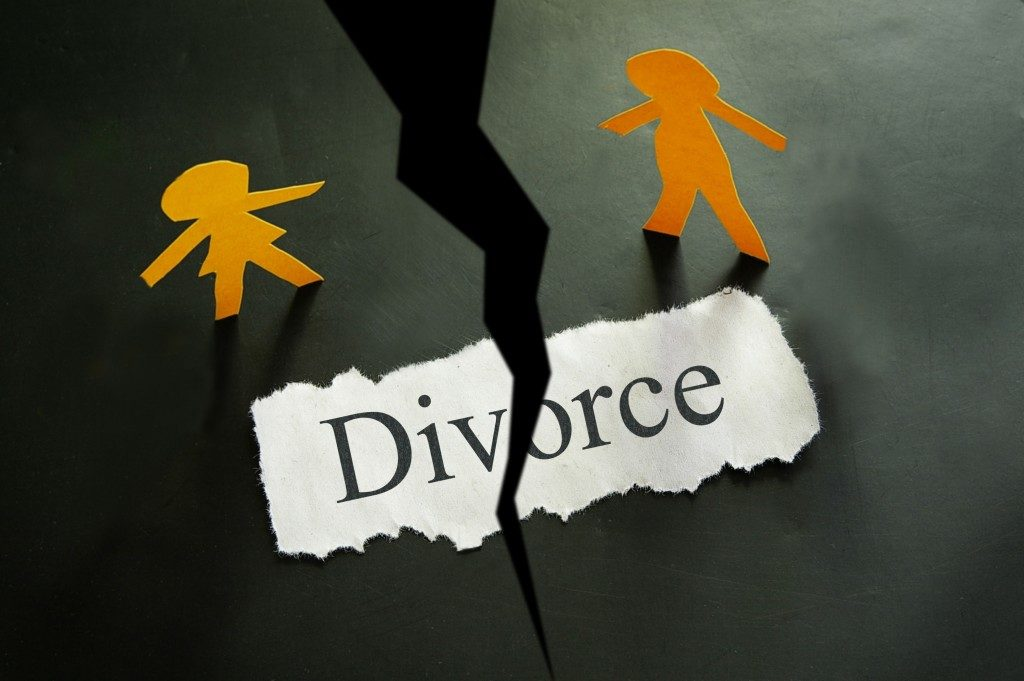 torn piece of paper with divorce concept