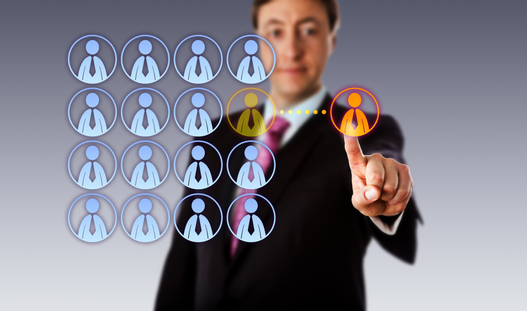 businessman with staff icons