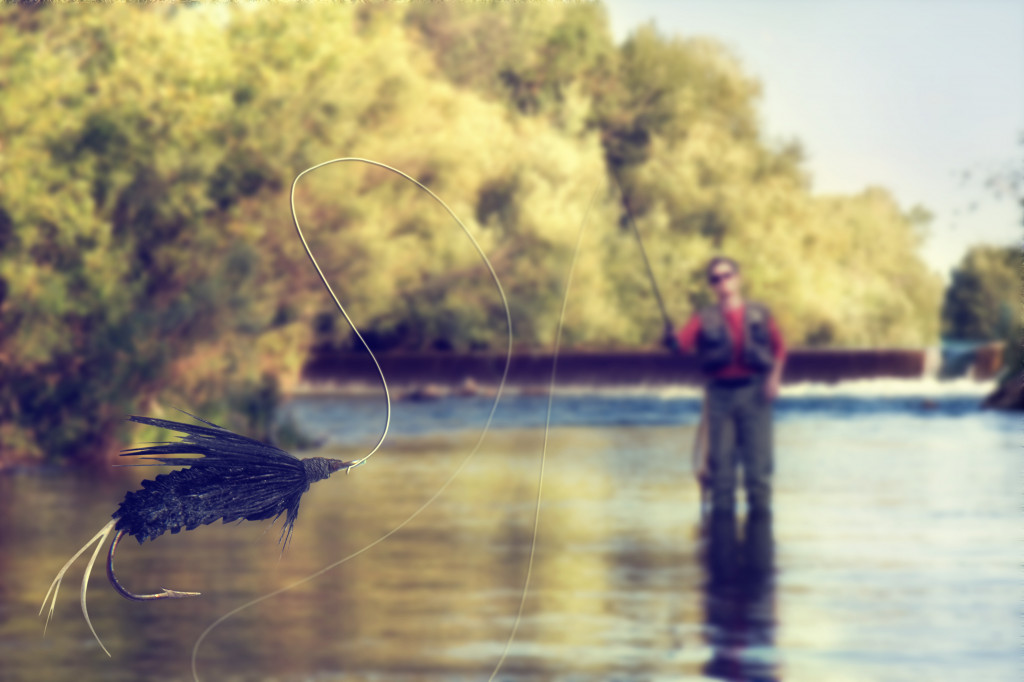 fishing in a river